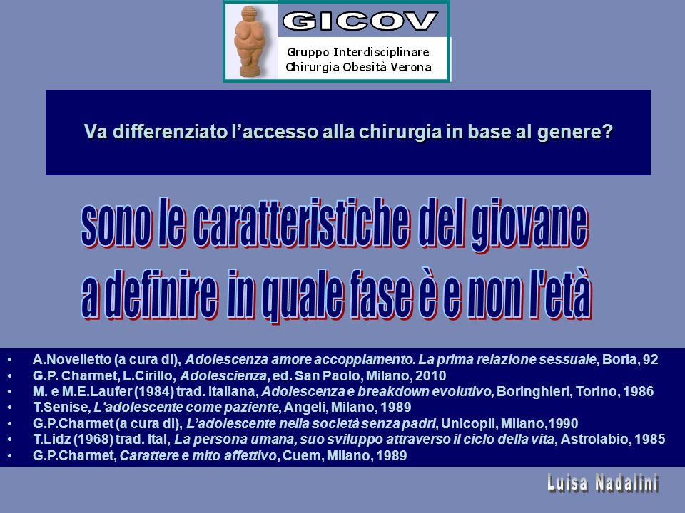 Va differenziato l'accesso alla chirurgia in base al genere? A.Novelletto (a cura di), Adolescenza amore accoppiamento. La prima relazione sessuale, B