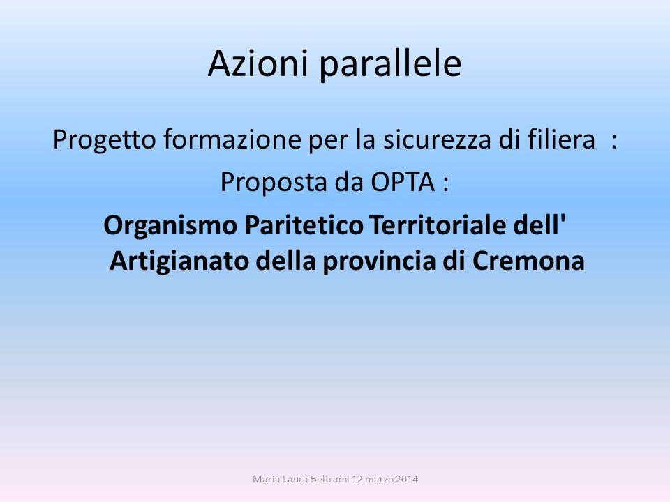 Azioni parallele Progetto formazione per la sicurezza di filiera : Proposta da OPTA : Organismo Paritetico Territoriale dell Artigianato della provincia di Cremona Maria Laura Beltrami 12 marzo 2014