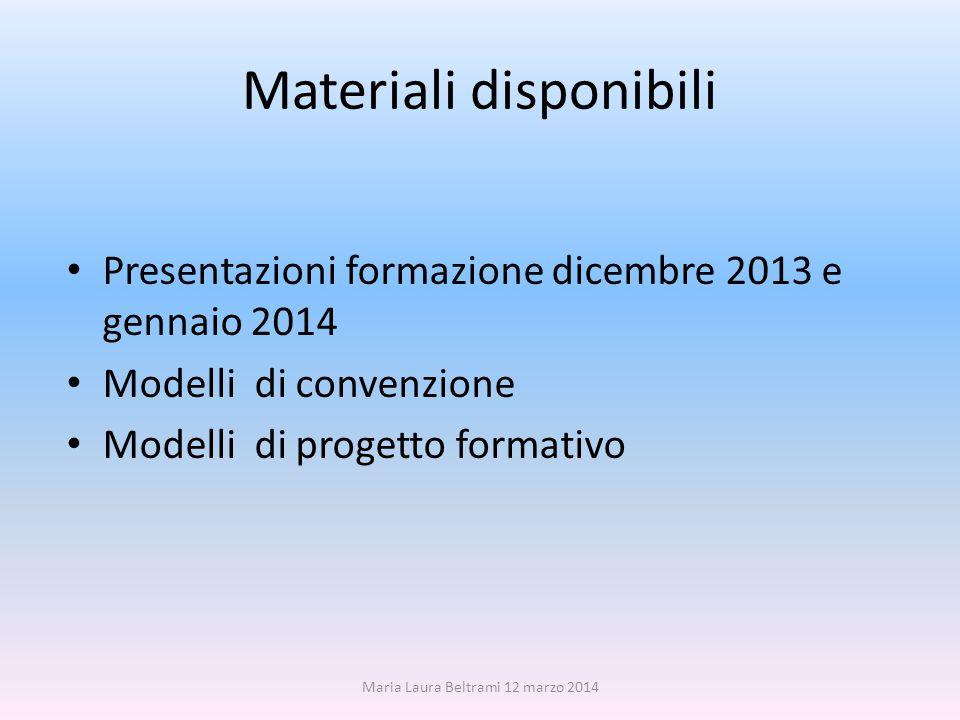 Materiali disponibili Presentazioni formazione dicembre 2013 e gennaio 2014 Modelli di convenzione Modelli di progetto formativo Maria Laura Beltrami 12 marzo 2014