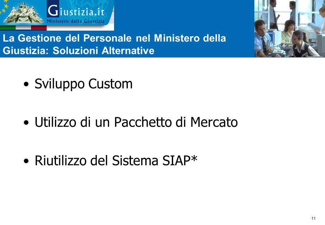 11 La Gestione del Personale nel Ministero della Giustizia: Soluzioni Alternative Sviluppo Custom Utilizzo di un Pacchetto di Mercato Riutilizzo del Sistema SIAP*