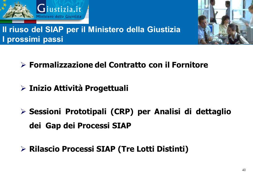40 Il riuso del SIAP per il Ministero della Giustizia I prossimi passi  Formalizzazione del Contratto con il Fornitore  Inizio Attività Progettuali  Sessioni Prototipali (CRP) per Analisi di dettaglio dei Gap dei Processi SIAP  Rilascio Processi SIAP (Tre Lotti Distinti)