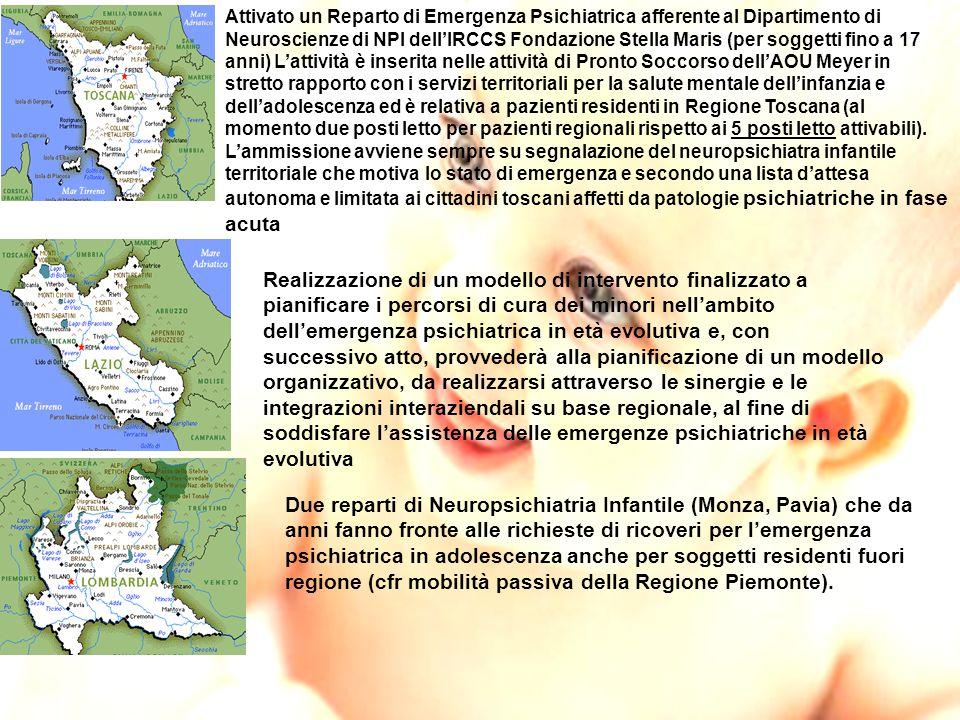 Attivato un Reparto di Emergenza Psichiatrica afferente al Dipartimento di Neuroscienze di NPI dell'IRCCS Fondazione Stella Maris (per soggetti fino a