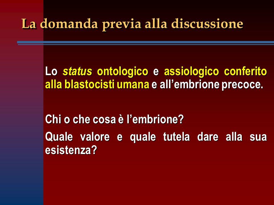 La domanda previa alla discussione Lo status ontologico e assiologico conferito alla blastocisti umana e all'embrione precoce.