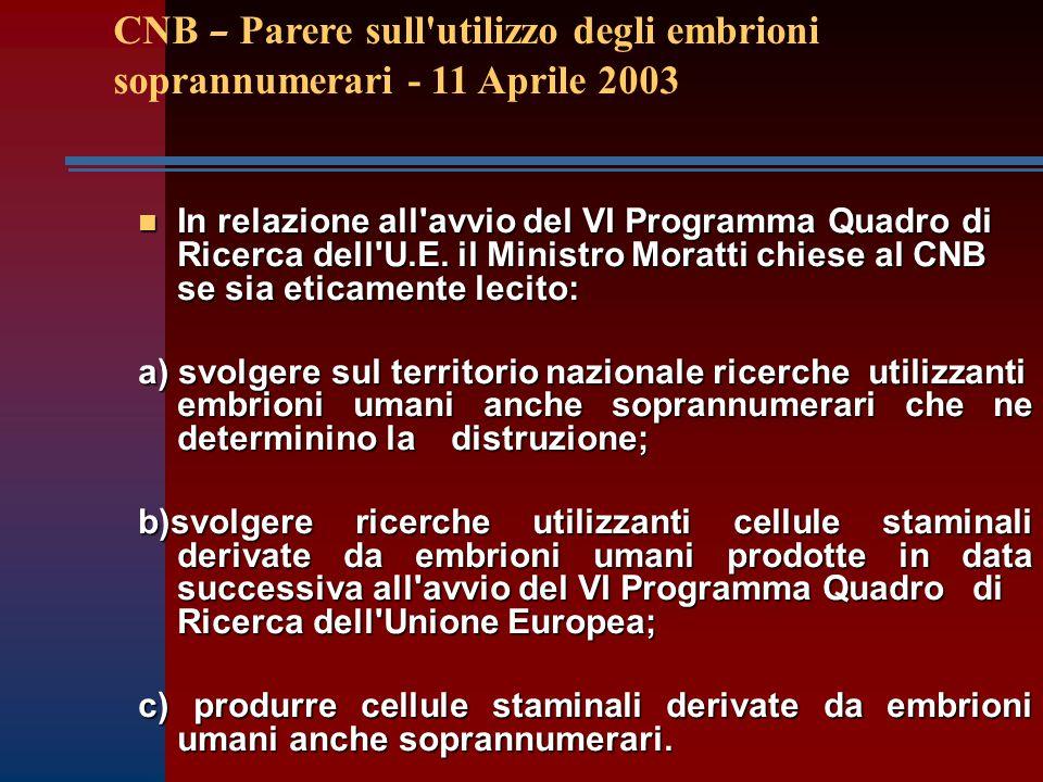 n In relazione all avvio del VI Programma Quadro di Ricerca dell U.E.