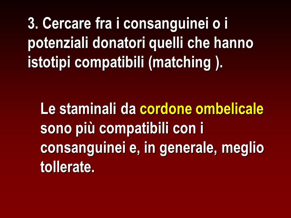 3. Cercare fra i consanguinei o i potenziali donatori quelli che hanno istotipi compatibili (matching ). Le staminali da cordone ombelicale sono più c