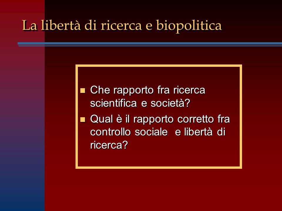 n Che rapporto fra ricerca scientifica e società.