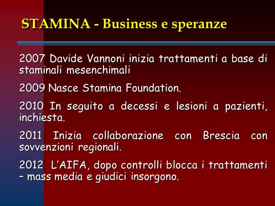 STAMINA - Business e speranze 2007 Davide Vannoni inizia trattamenti a base di staminali mesenchimali 2009 Nasce Stamina Foundation.