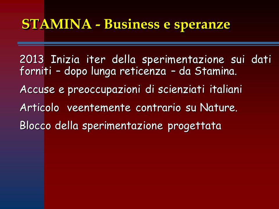 STAMINA - Business e speranze 2013 Inizia iter della sperimentazione sui dati forniti – dopo lunga reticenza – da Stamina.