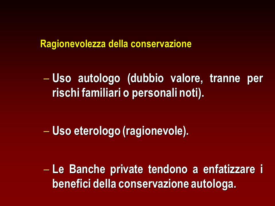 Ragionevolezza della conservazione – Uso autologo (dubbio valore, tranne per rischi familiari o personali noti).