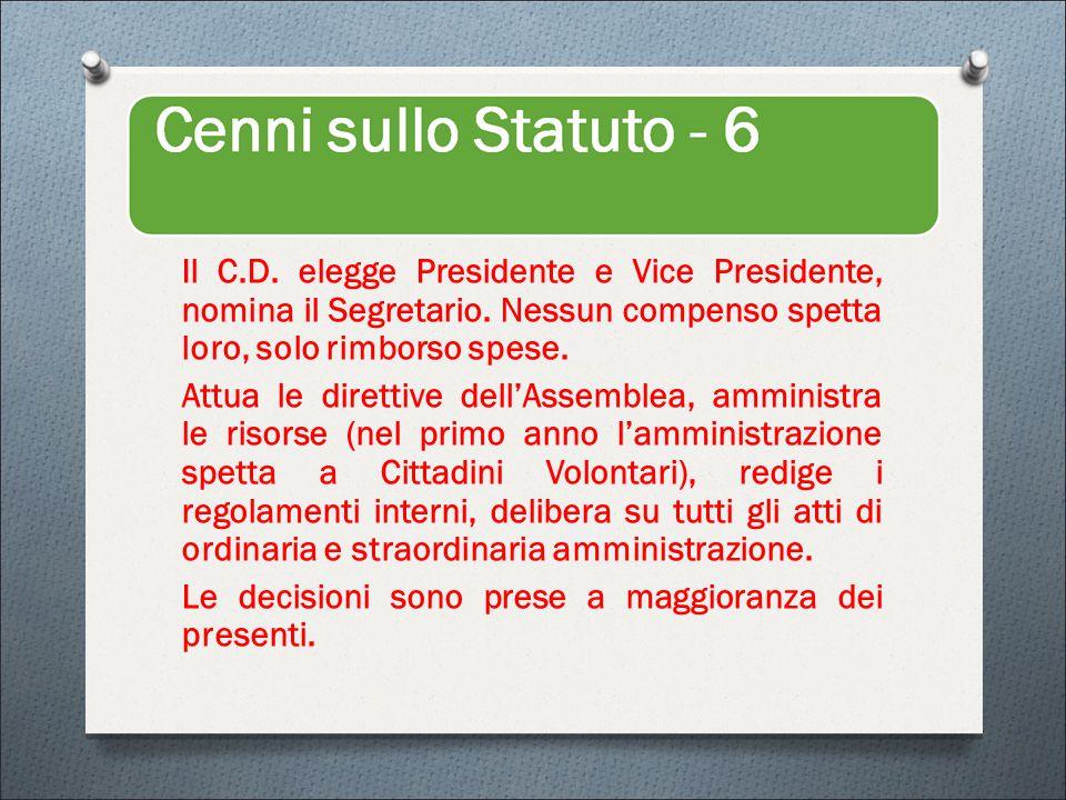 Il C.D. elegge Presidente e Vice Presidente, nomina il Segretario.