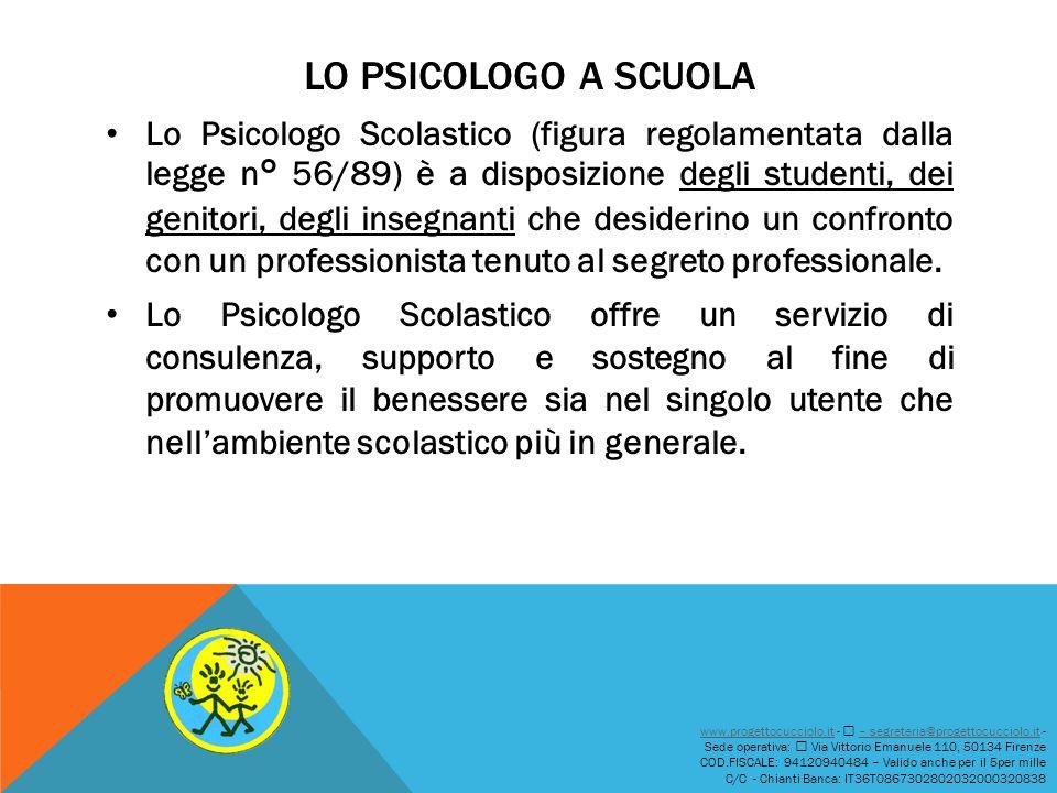 LO PSICOLOGO A SCUOLA Lo Psicologo Scolastico (figura regolamentata dalla legge n° 56/89) è a disposizione degli studenti, dei genitori, degli insegna