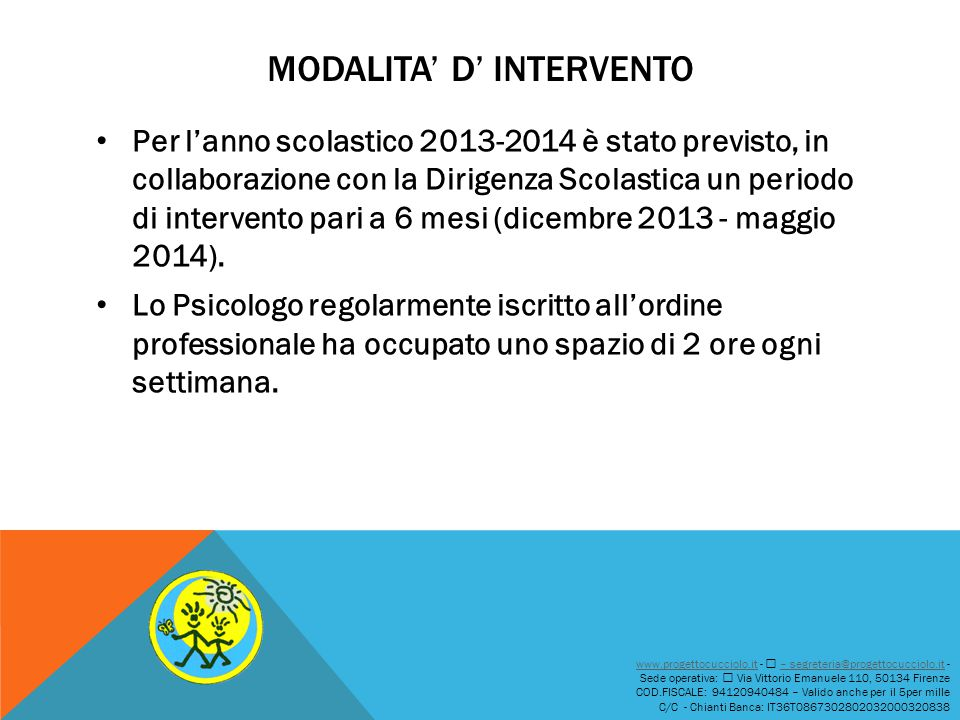 MODALITA' D' INTERVENTO Per l'anno scolastico 2013-2014 è stato previsto, in collaborazione con la Dirigenza Scolastica un periodo di intervento pari