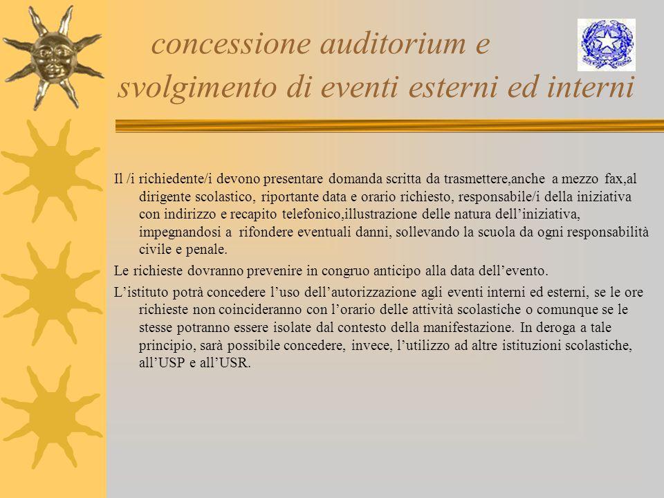 concessione auditorium e svolgimento di eventi esterni ed interni Il /i richiedente/i devono presentare domanda scritta da trasmettere,anche a mezzo f