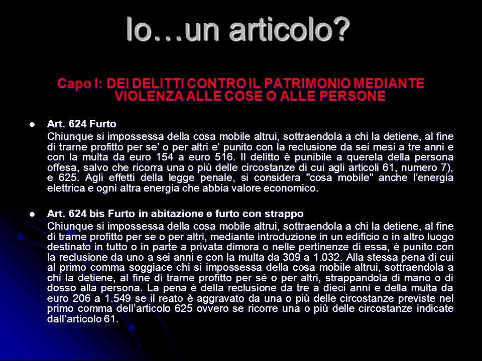 Capo I: DEI DELITTI CONTRO IL PATRIMONIO MEDIANTE VIOLENZA ALLE COSE O ALLE PERSONE Art.