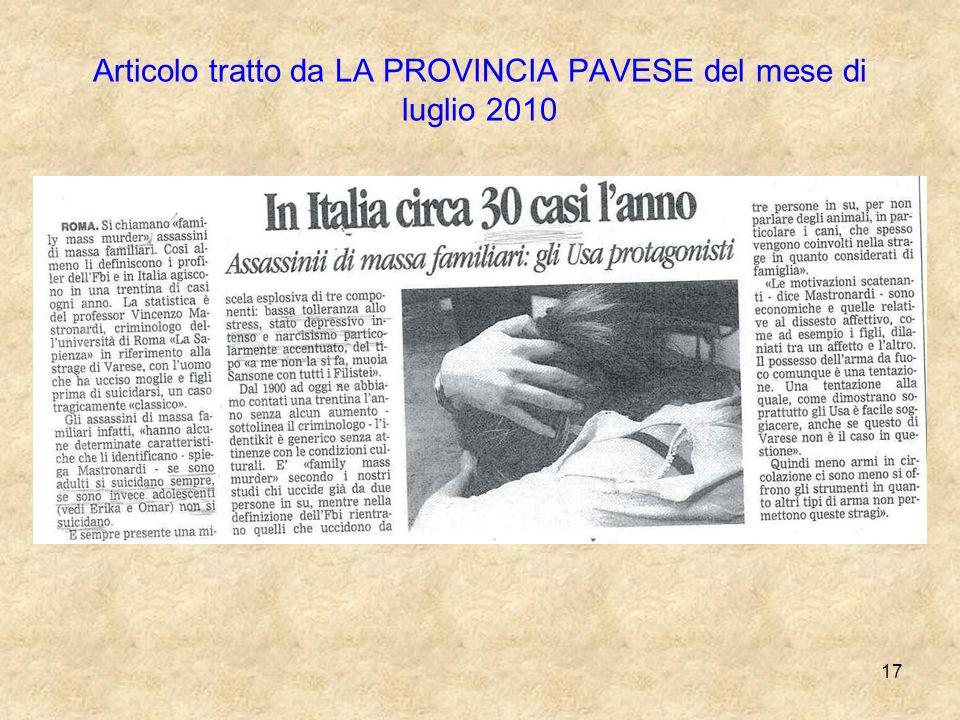 17 Articolo tratto da LA PROVINCIA PAVESE del mese di luglio 2010