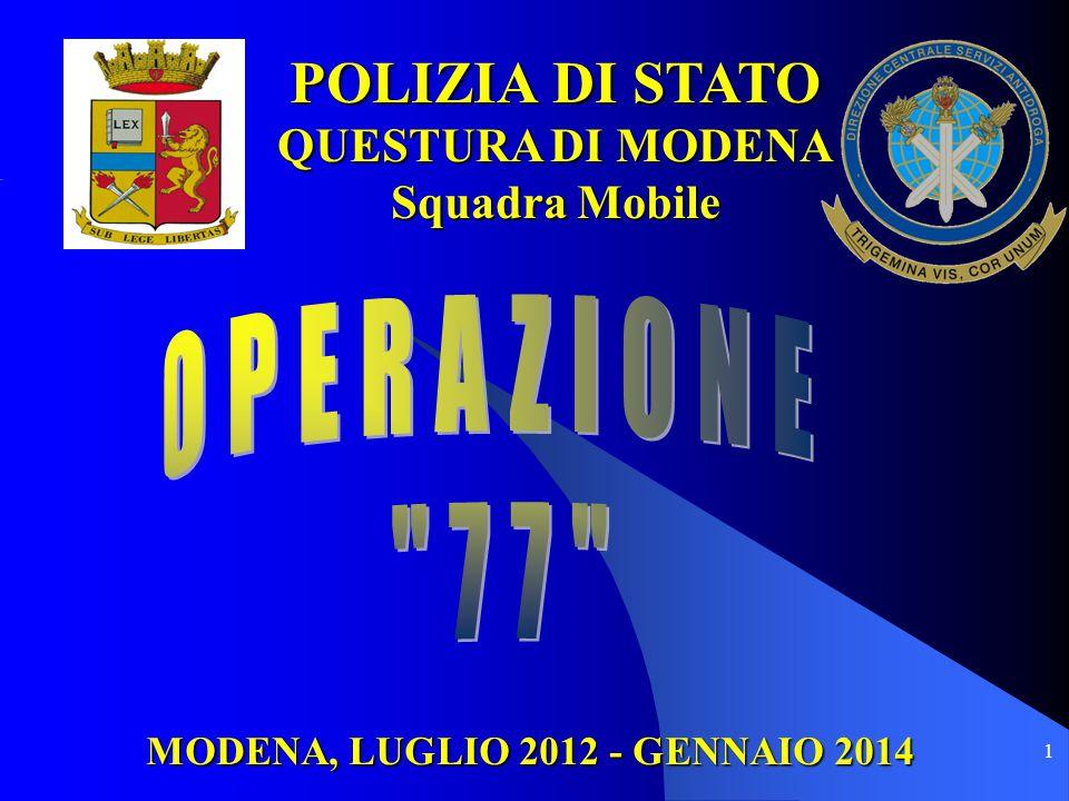 1 MODENA, LUGLIO 2012 - GENNAIO 2014 POLIZIA DI STATO QUESTURA DI MODENA Squadra Mobile