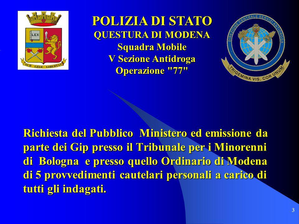 4 POLIZIA DI STATO QUESTURA DI MODENA Squadra Mobile V Sezione Antidroga POLIZIA DI STATO QUESTURA DI MODENA Squadra Mobile V Sezione Antidroga