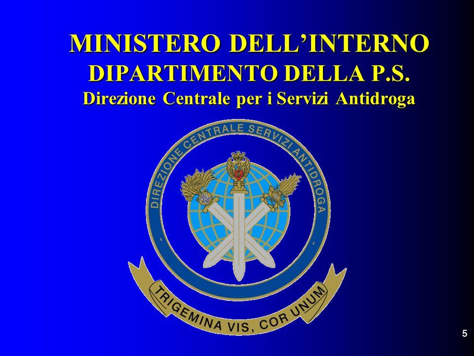 5 MINISTERO DELL'INTERNO DIPARTIMENTO DELLA P.S. Direzione Centrale per i Servizi Antidroga MINISTERO DELL'INTERNO DIPARTIMENTO DELLA P.S. Direzione C
