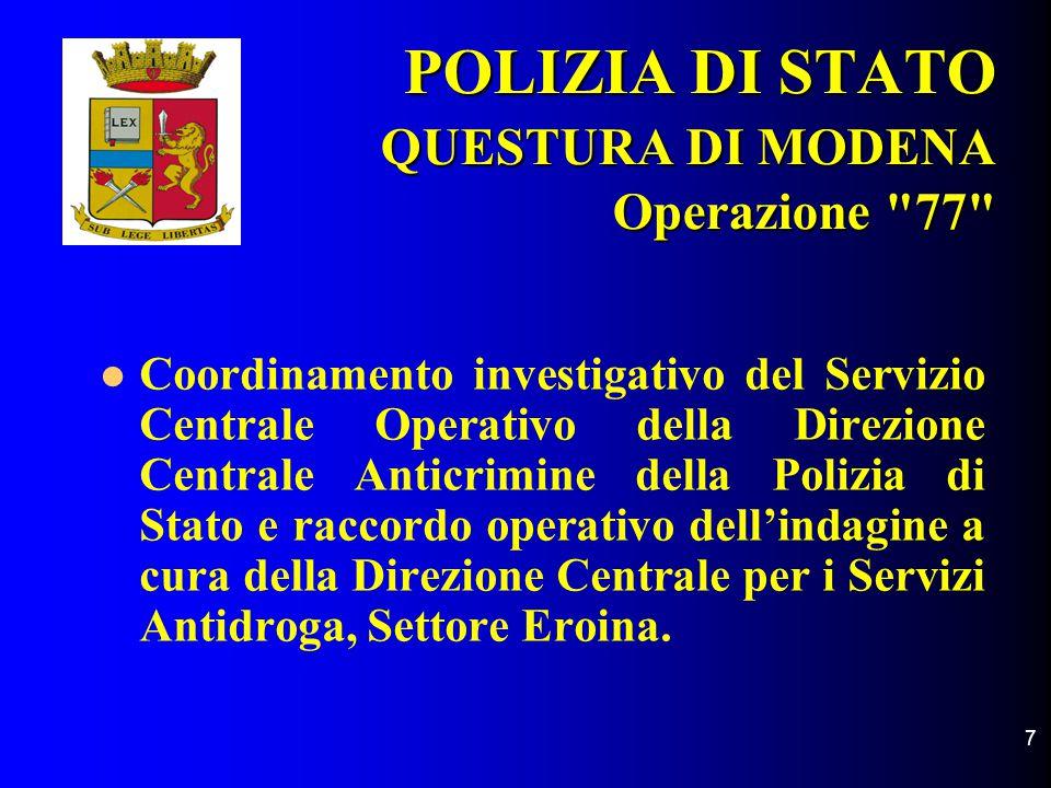 8 POLIZIA DI STATO QUESTURA DI MODENA Squadra Mobile