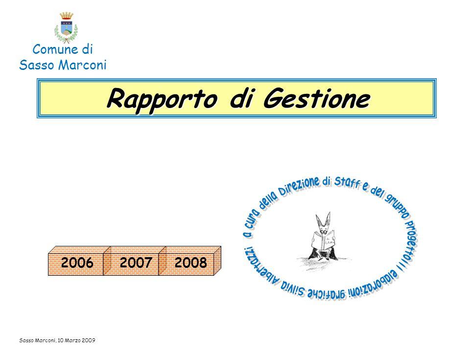 2006 Sasso Marconi, 10 Marzo 2009 Rapporto di Gestione Comune di Sasso Marconi 20072008