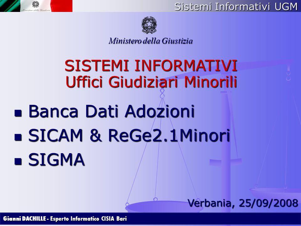 Sistemi Informativi UGM Ministero della Giustizia SISTEMI INFORMATIVI Uffici Giudiziari Minorili Banca Dati Adozioni Banca Dati Adozioni SICAM & ReGe2
