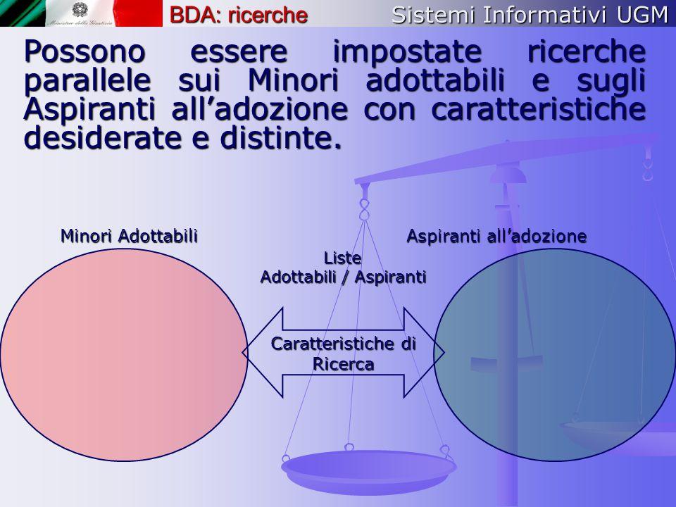 Sistemi Informativi UGM BDA: ricerche Possono essere impostate ricerche parallele sui Minori adottabili e sugli Aspiranti all'adozione con caratterist