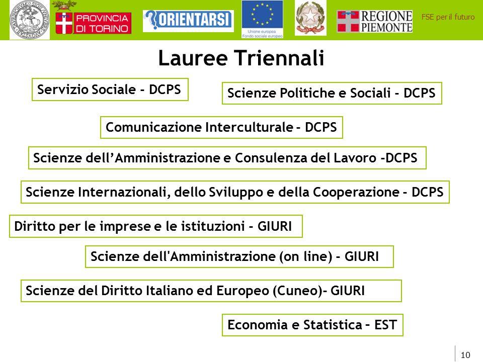 10 FSE per il futuro Lauree Triennali Servizio Sociale - DCPS Scienze Politiche e Sociali - DCPS Scienze dell'Amministrazione e Consulenza del Lavoro