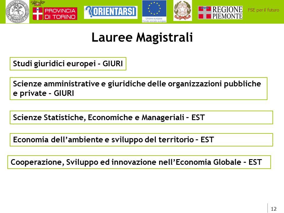 12 FSE per il futuro Scienze amministrative e giuridiche delle organizzazioni pubbliche e private - GIURI Studi giuridici europei - GIURI Lauree Magis