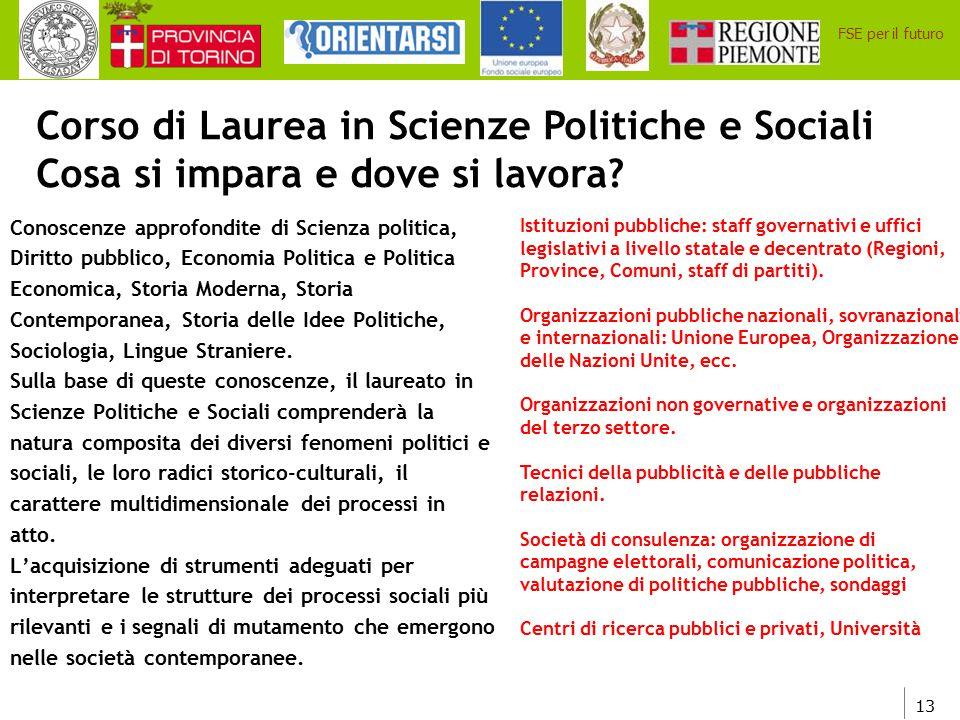 13 FSE per il futuro Corso di Laurea in Scienze Politiche e Sociali Cosa si impara e dove si lavora? Conoscenze approfondite di Scienza politica, Diri