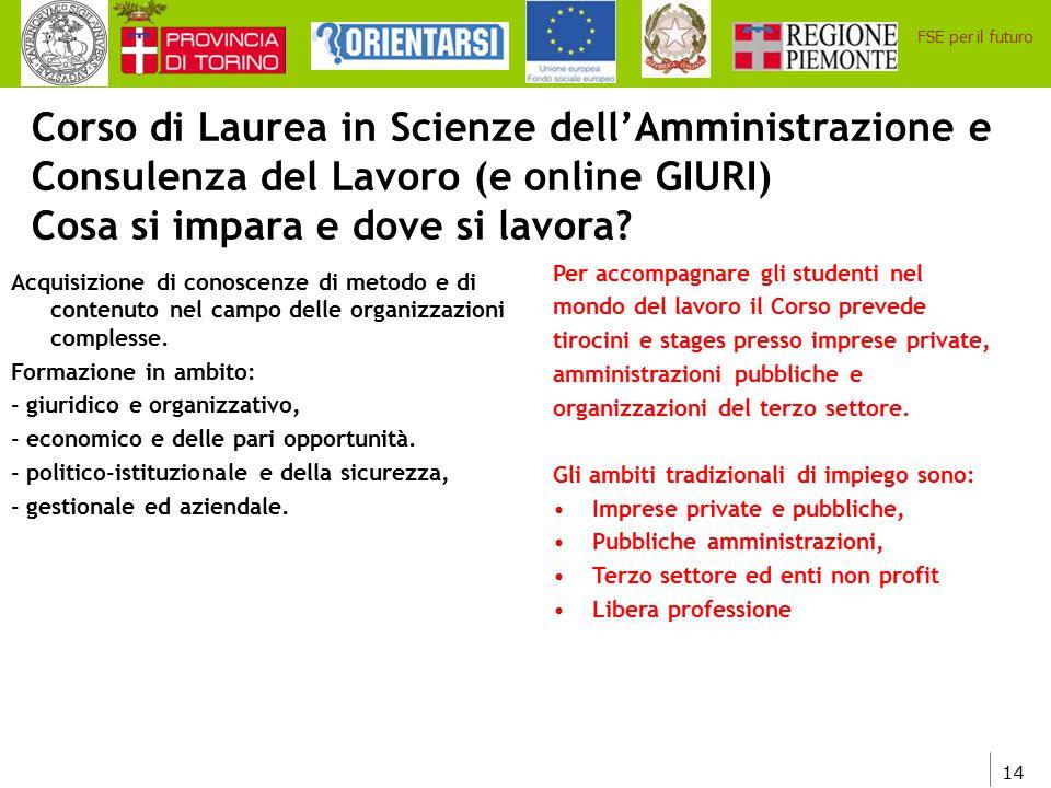 14 FSE per il futuro Corso di Laurea in Scienze dell'Amministrazione e Consulenza del Lavoro (e online GIURI) Cosa si impara e dove si lavora? Acquisi