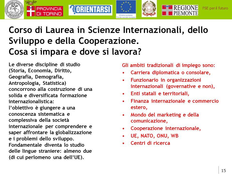 15 FSE per il futuro Corso di Laurea in Scienze Internazionali, dello Sviluppo e della Cooperazione. Cosa si impara e dove si lavora? Le diverse disci