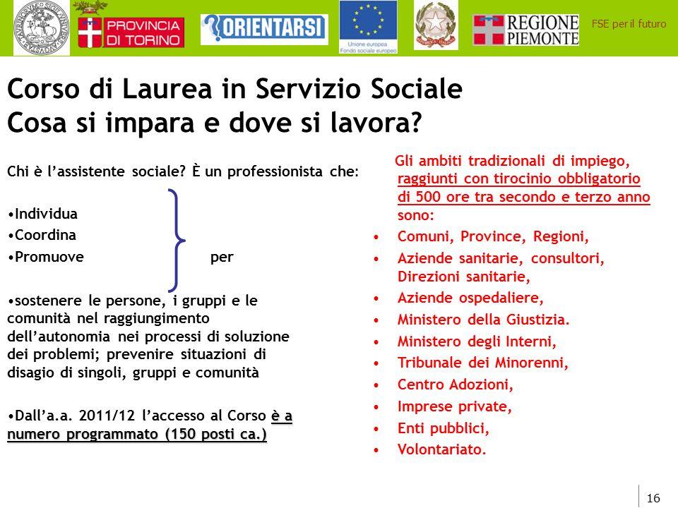 16 FSE per il futuro Corso di Laurea in Servizio Sociale Cosa si impara e dove si lavora? Chi è l'assistente sociale? È un professionista che : Indivi