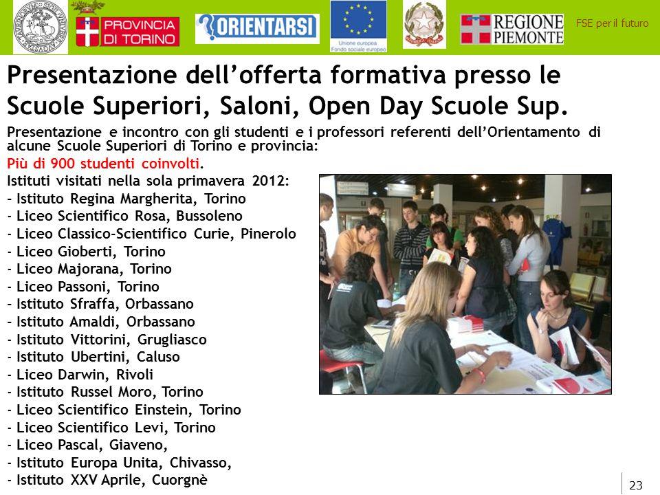23 FSE per il futuro Presentazione dell'offerta formativa presso le Scuole Superiori, Saloni, Open Day Scuole Sup. Presentazione e incontro con gli st