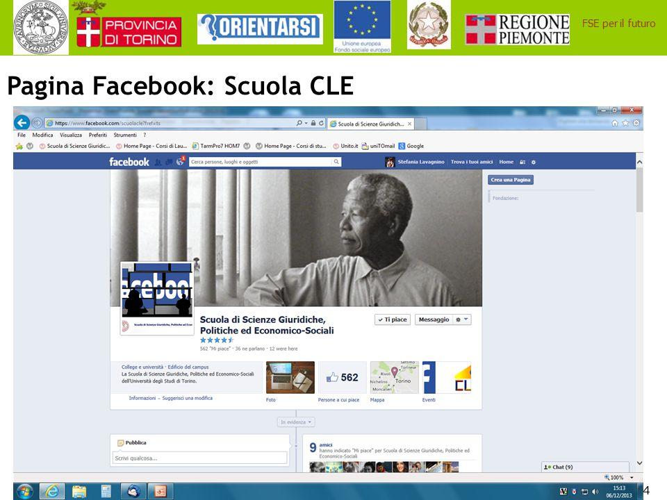 34 FSE per il futuro Pagina Facebook: Scuola CLE