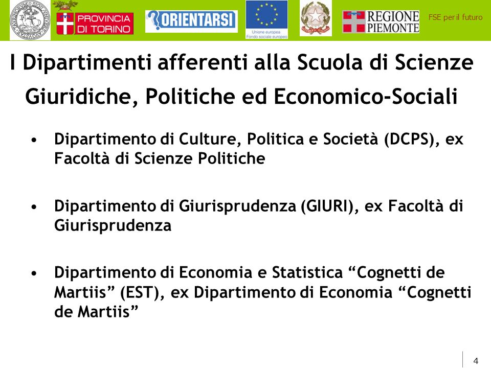 4 FSE per il futuro I Dipartimenti afferenti alla Scuola di Scienze Giuridiche, Politiche ed Economico-Sociali Dipartimento di Culture, Politica e Soc