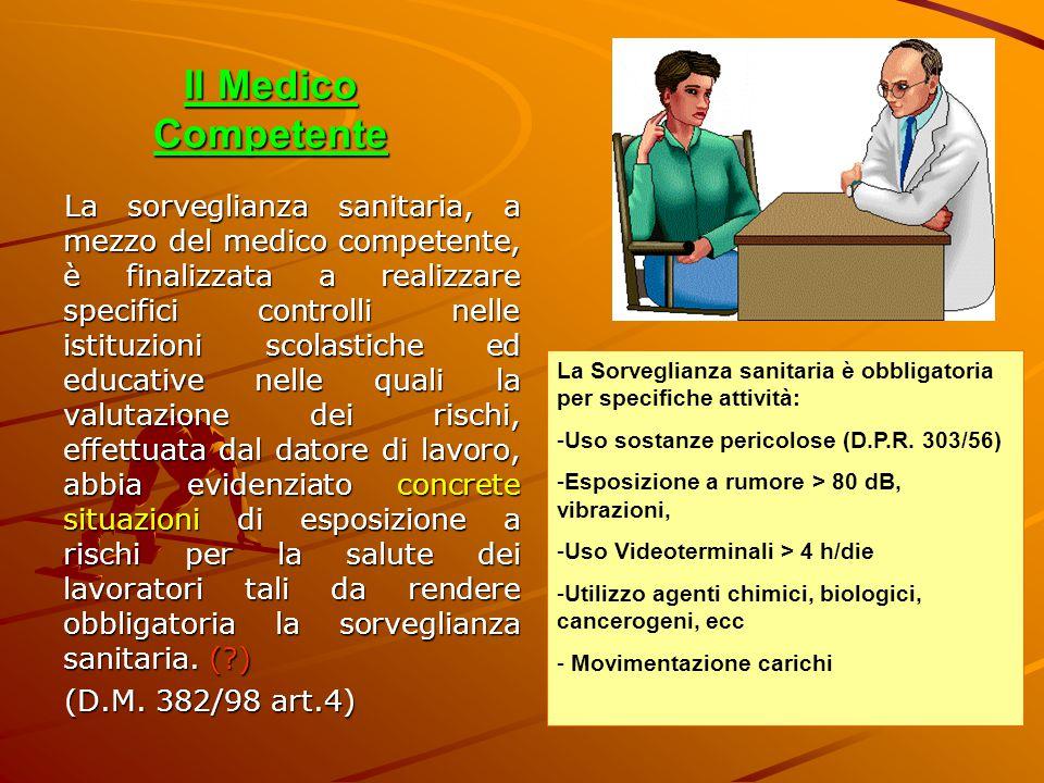 Il Medico Competente La sorveglianza sanitaria, a mezzo del medico competente, è finalizzata a realizzare specifici controlli nelle istituzioni scolas