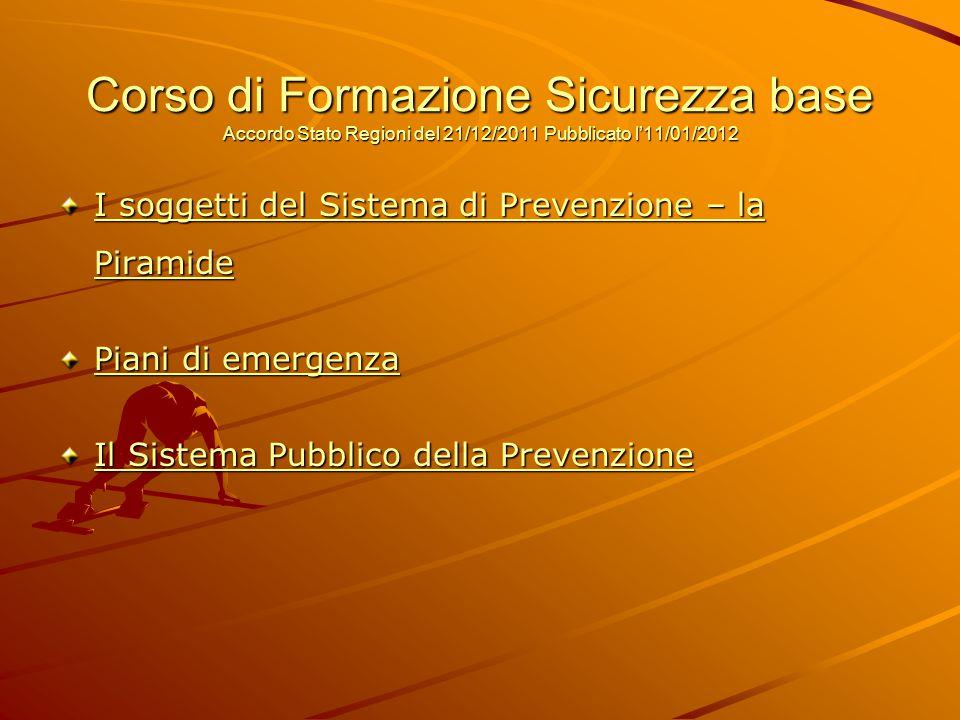 Corso di Formazione Sicurezza base Accordo Stato Regioni del 21/12/2011 Pubblicato l'11/01/2012 I soggetti del Sistema di Prevenzione – la Piramide Pi