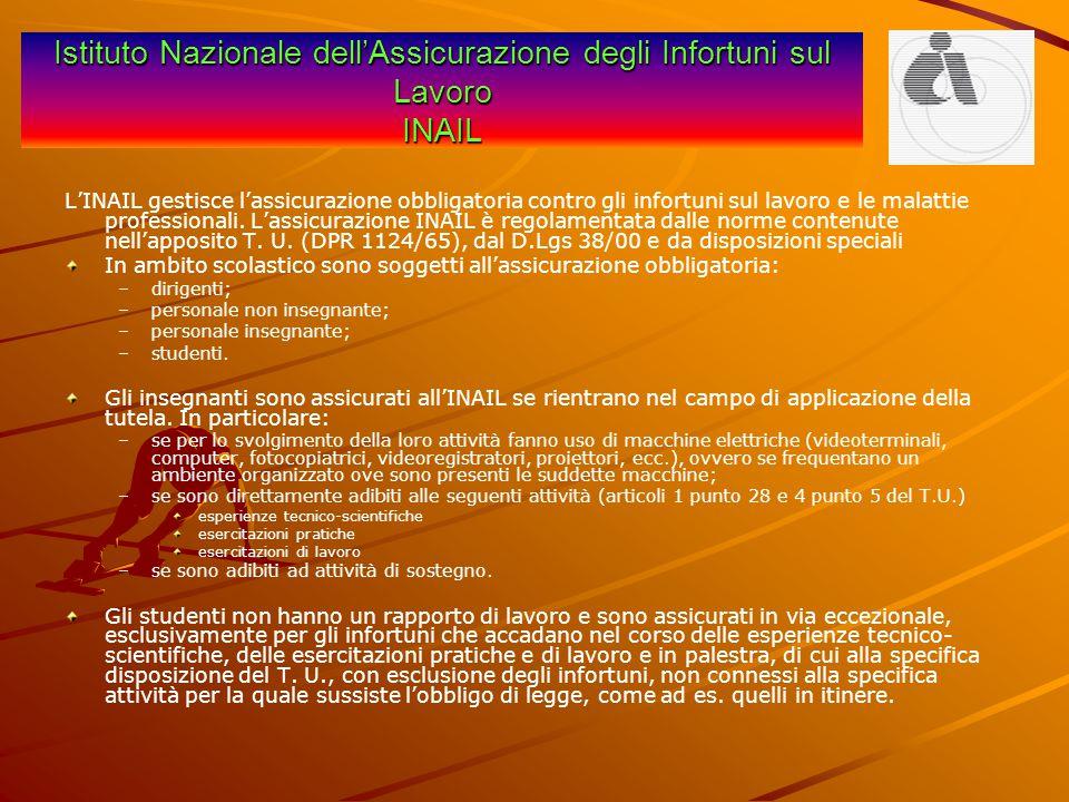 Istituto Nazionale dell'Assicurazione degli Infortuni sul Lavoro INAIL L'INAIL gestisce l'assicurazione obbligatoria contro gli infortuni sul lavoro e
