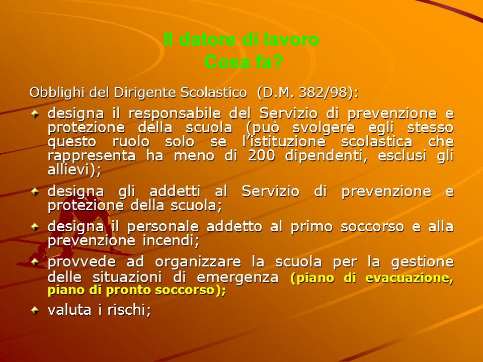 Il datore di lavoro Cosa fa? Obblighi del Dirigente Scolastico (D.M. 382/98): designa il responsabile del Servizio di prevenzione e protezione della s