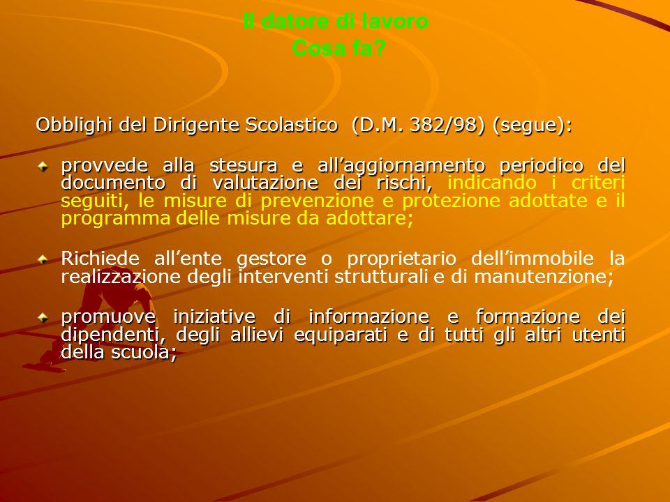 Il datore di lavoro Cosa fa? Obblighi del Dirigente Scolastico (D.M. 382/98) (segue): provvede alla stesura e all'aggiornamento periodico del document