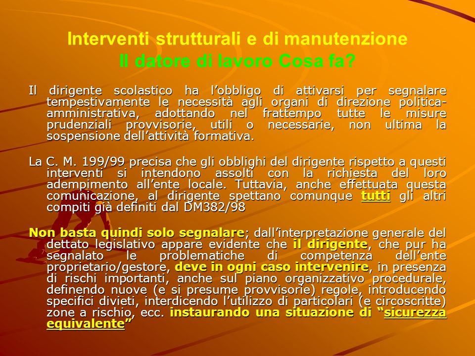 Interventi strutturali e di manutenzione Il datore di lavoro Cosa fa? Il dirigente scolastico ha l'obbligo di attivarsi per segnalare tempestivamente