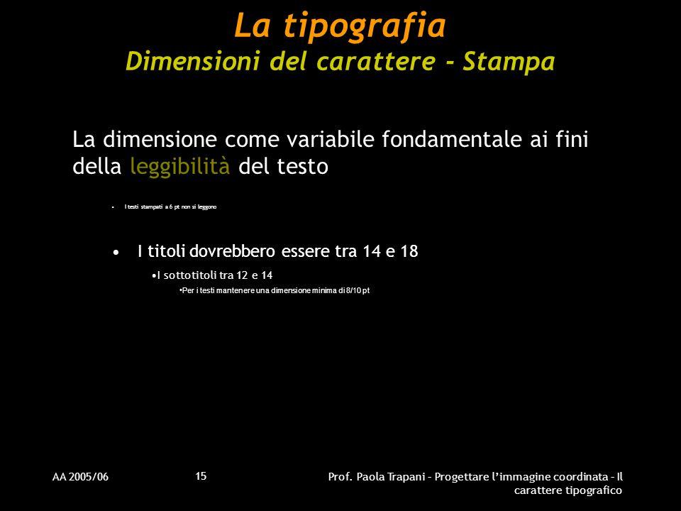 AA 2005/06Prof. Paola Trapani – Progettare l'immagine coordinata – Il carattere tipografico 15 La tipografia Dimensioni del carattere - Stampa La dime
