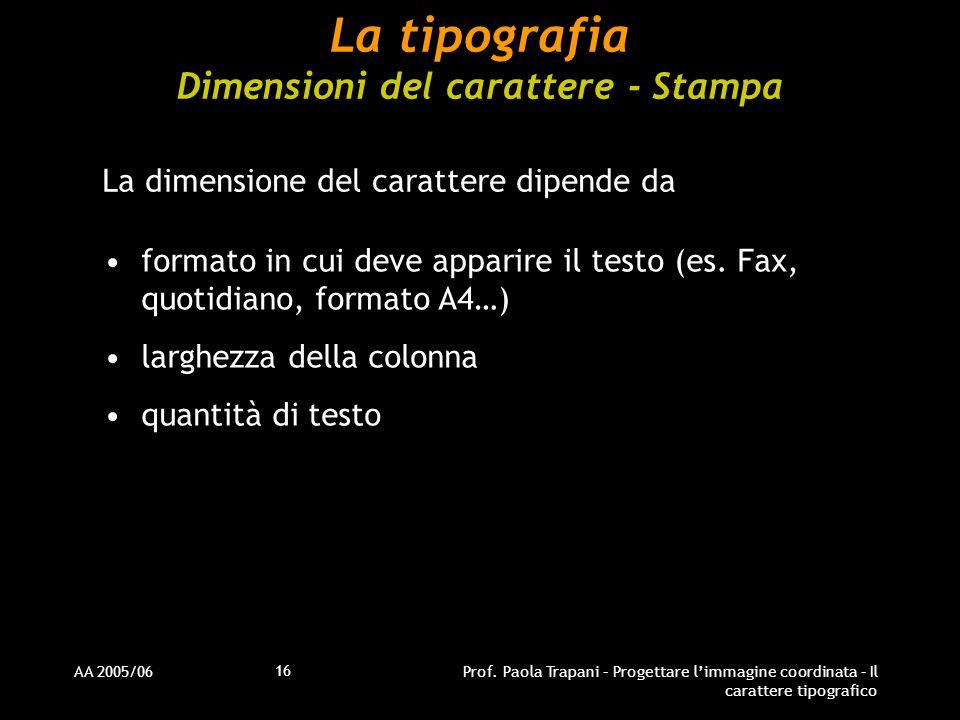 AA 2005/06Prof. Paola Trapani – Progettare l'immagine coordinata – Il carattere tipografico 16 La tipografia Dimensioni del carattere - Stampa La dime