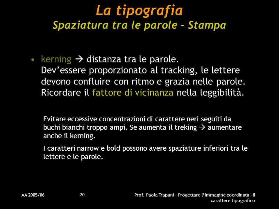 AA 2005/06Prof. Paola Trapani – Progettare l'immagine coordinata – Il carattere tipografico 20 La tipografia Spaziatura tra le parole - Stampa kerning