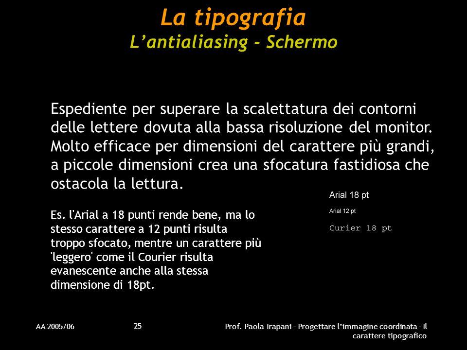 AA 2005/06Prof. Paola Trapani – Progettare l'immagine coordinata – Il carattere tipografico 25 La tipografia L'antialiasing - Schermo Espediente per s