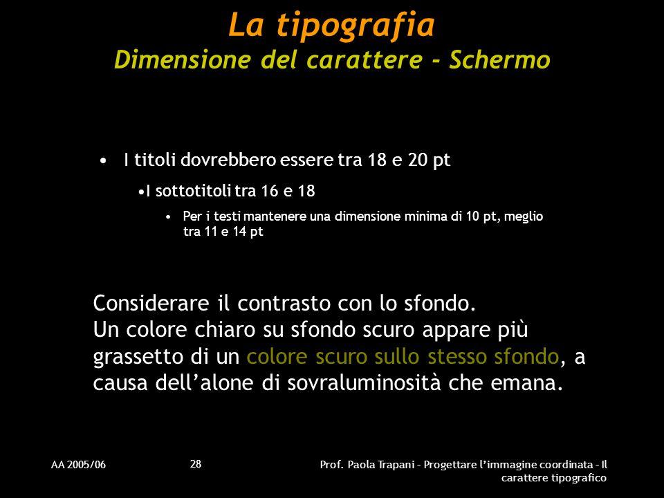 AA 2005/06Prof. Paola Trapani – Progettare l'immagine coordinata – Il carattere tipografico 28 La tipografia Dimensione del carattere - Schermo I tito