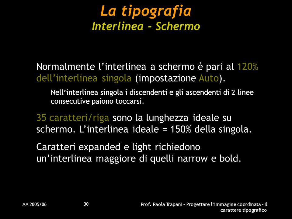 AA 2005/06Prof. Paola Trapani – Progettare l'immagine coordinata – Il carattere tipografico 30 La tipografia Interlinea - Schermo Normalmente l'interl