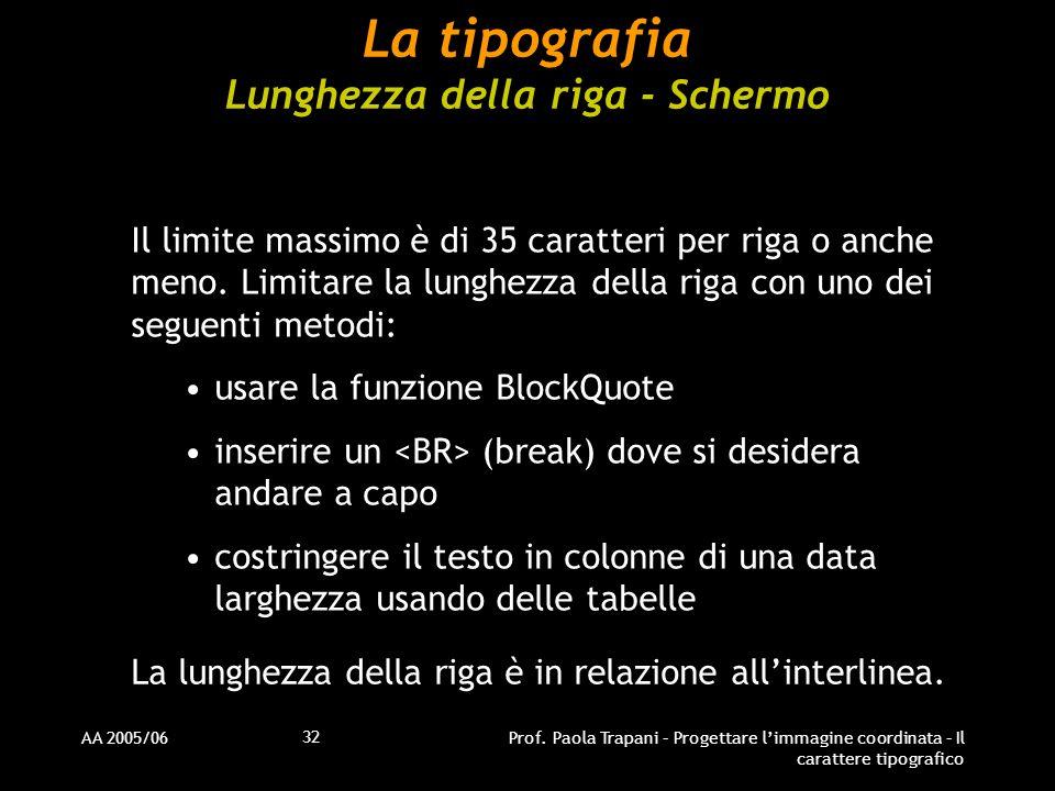 AA 2005/06Prof. Paola Trapani – Progettare l'immagine coordinata – Il carattere tipografico 32 La tipografia Lunghezza della riga - Schermo Il limite
