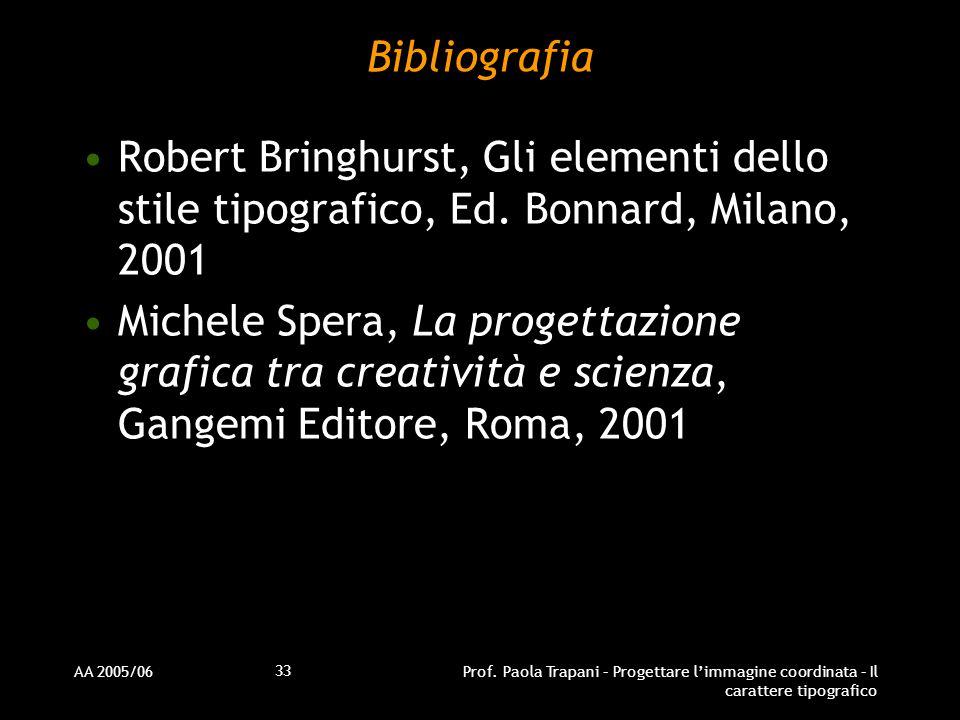 AA 2005/06Prof. Paola Trapani – Progettare l'immagine coordinata – Il carattere tipografico 33 Bibliografia Robert Bringhurst, Gli elementi dello stil