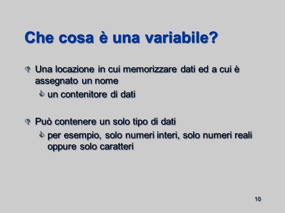 10 Che cosa è una variabile.